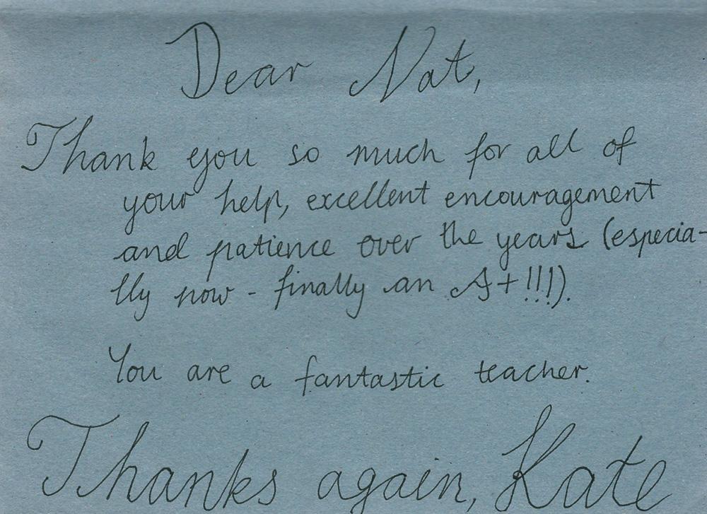 Testimonial Letter from Kate