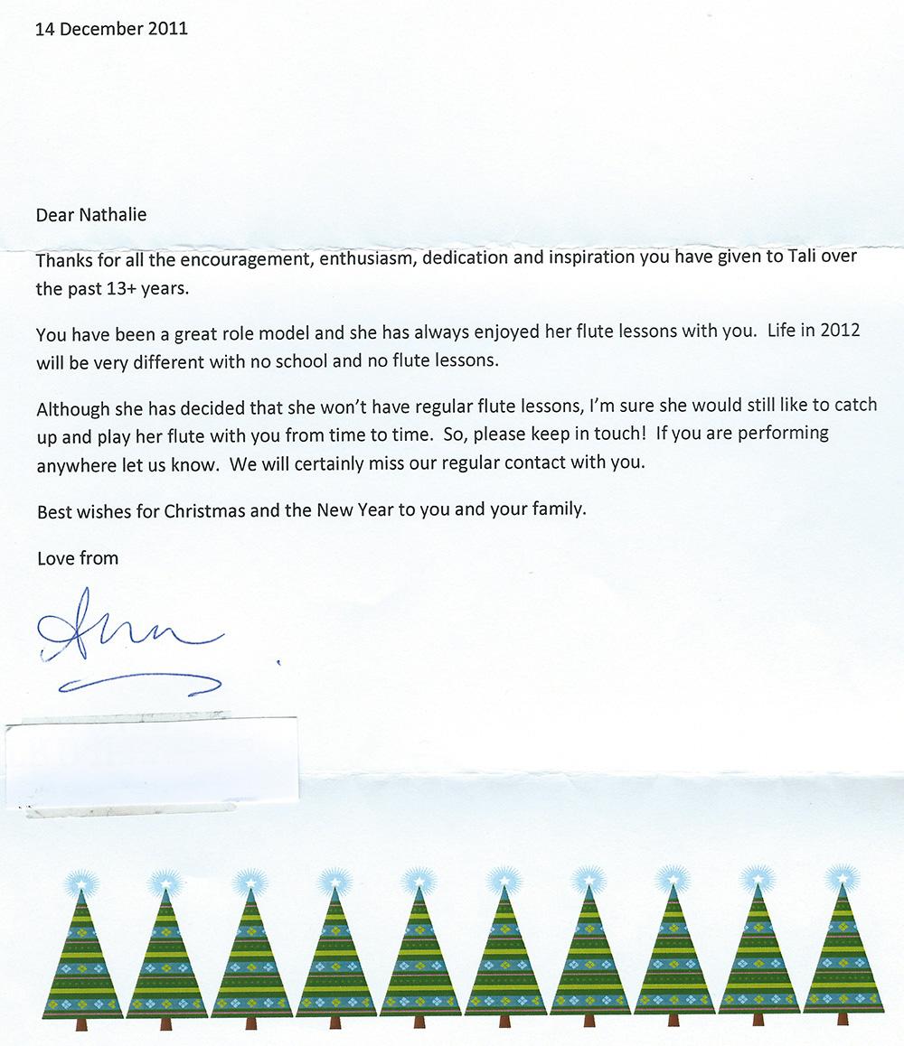 Testimonial Letter from Ana