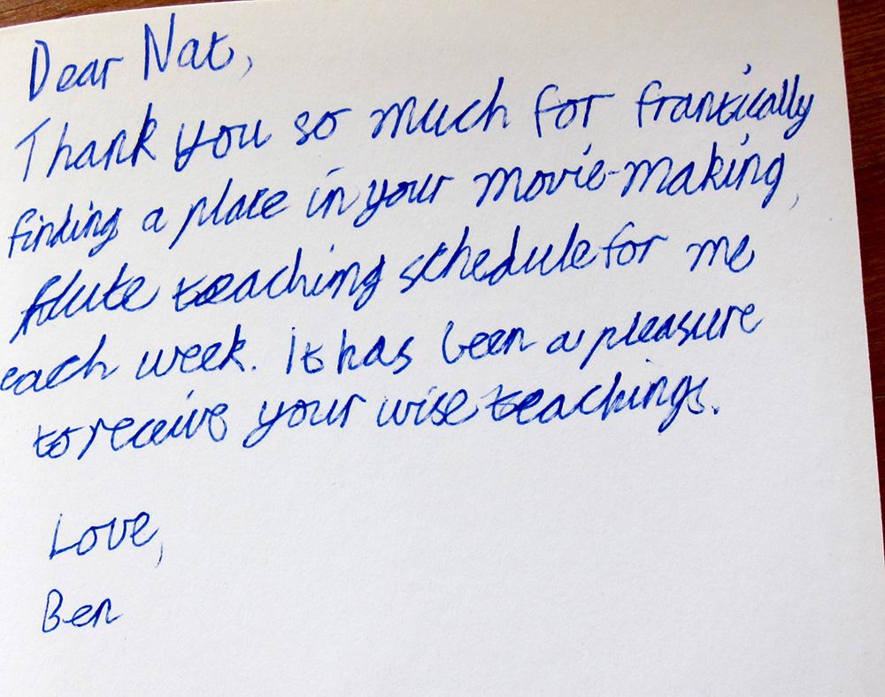 Testimonial Letter from Ben