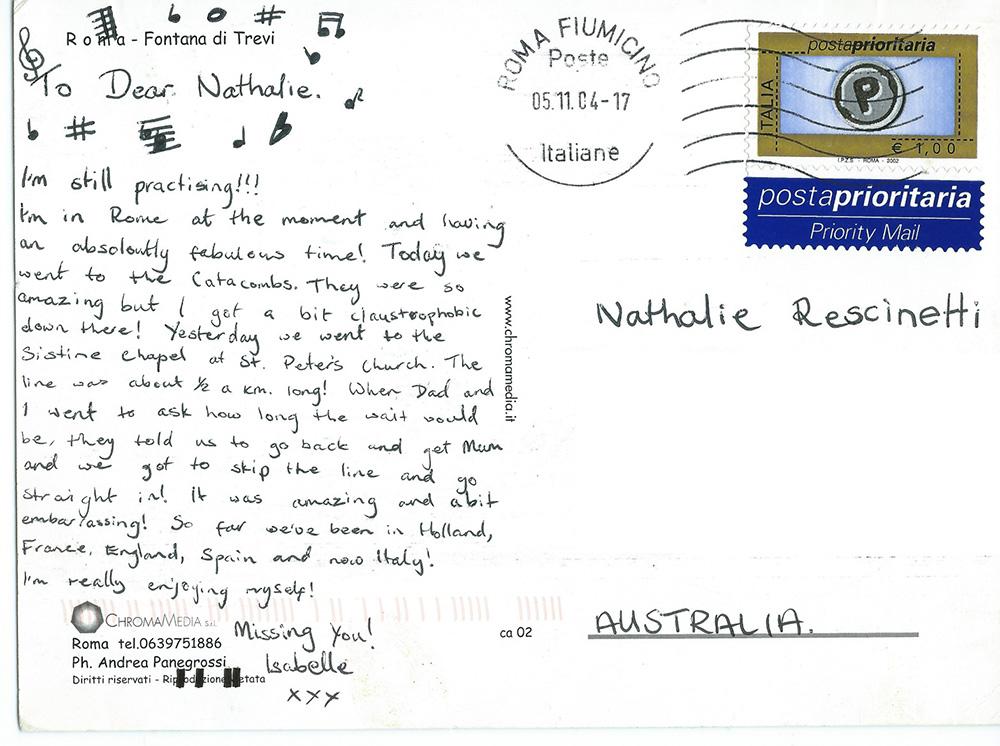 Testimonial Letter from Isabelle