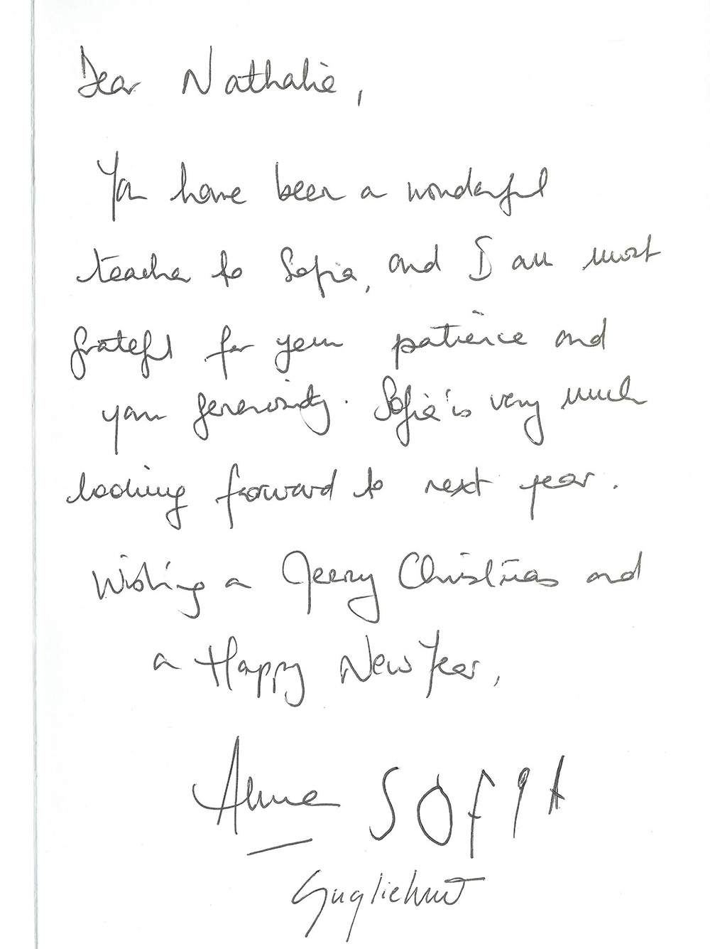 Greetings Letter from Sofia's parent